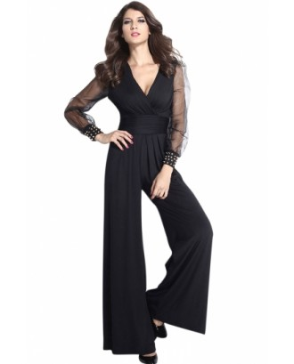 Black Mesh Long Sleeve V Neck High Waist Wide Leg Jumpsuits For Women