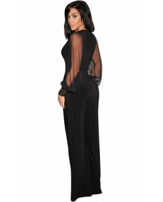 Black Mesh Long Sleeve V Neck High Waist Wide Leg Jumpsuits For Women