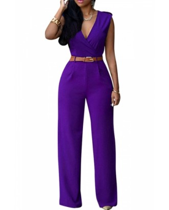 Deep V Neck Sleeveless High Waist Wide Leg Purple Jumpsuits For Women