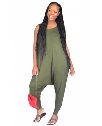 Crew Neck Sleeveless Loose Plain Harem Jumpsuit Green
