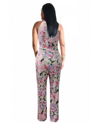 Crew Neck Sleeveless Floral Print Tie Waist Stripe Jumpsuit Pink