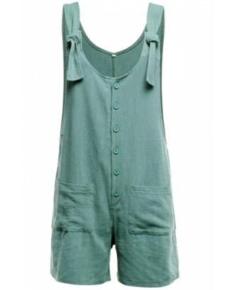 Loose Knot Striped Button Front Pocket Plain Overall Romper Green