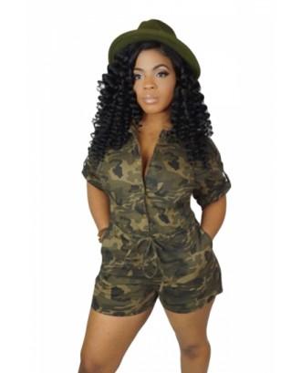 Plus Size Drawstring Camouflage Print Pocket Romper Olive
