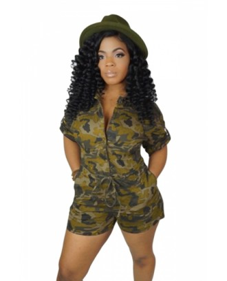 Plus Size Romper With Camouflage Print And Pocket Ginger
