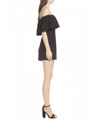 Notch Neck Strapless Pocket Ruffle Plain Romper Black