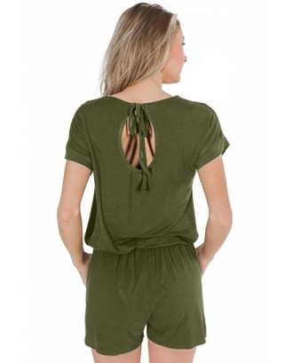 Casual Loose Pocket Short Sleeve Romper Olive
