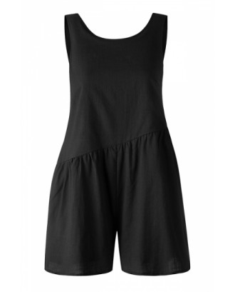 Crew Neck Pocket Backless Plain Pleated Asymmetrical Romper Black