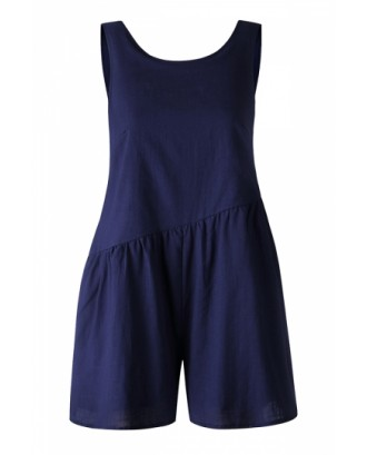 Crew Neck Pocket Backless Plain Pleated Asymmetrical Romper Blue