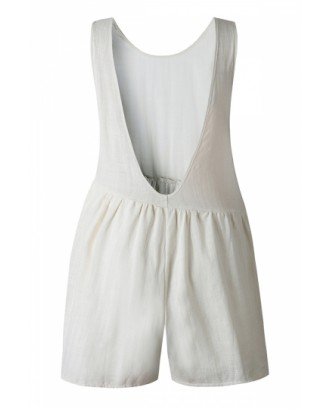 Crew Neck Pocket Backless Plain Pleated Asymmetrical Romper White
