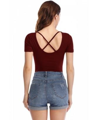 Short Sleeve Plain Criss Cross Bodysuit Ruby