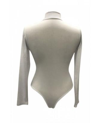 Womens Mock Neck Plain Long Sleeve Slimming Bodysuit White