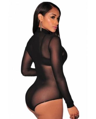 Black Long Sleeve Turtleneck Sheer Mesh Bodysuit Women