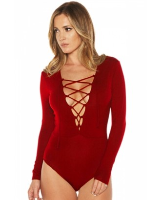 Womens Lace-up Plunging Neck Long Sleeve Plain Bodysuit Red