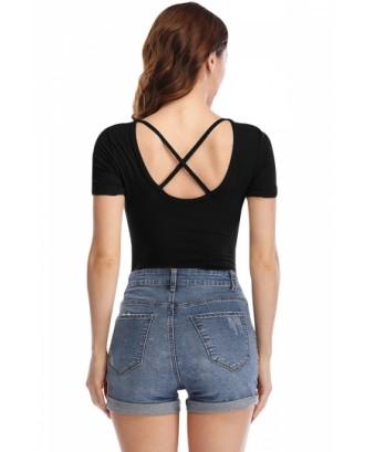 Short Sleeve Criss Cross Plain Bodysuit Black