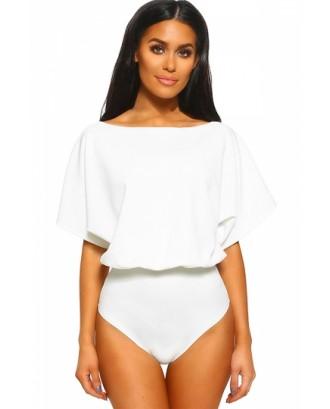 Loose Boat Neck Short Sleeve Plain Bodysuit White