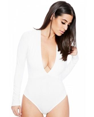 Womens Sexy White Long Sleeve Deep V Neck Thong Bodysuit