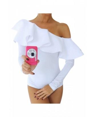 Womens One Shoulder Ruffled Long Sleeve Plain Bodysuit White