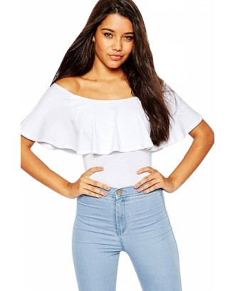 Sexy Ruffle Off Shoulder Top Bodysuit White