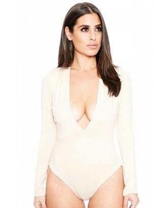 Womens Sexy Long Sleeve Deep V Neck Plain Bodysuit Khaki