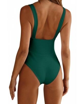 Square Neck Sleeveless Backless Plain Bodysuit Green