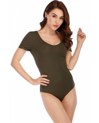 Criss Cross Plain Short Sleeve Bodysuit Olive