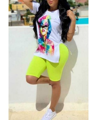 Lovely Casual O Neck Printed White Two-piece Shorts Set