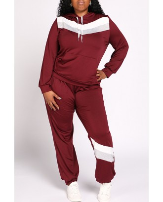 Lovely Casual Hooded Collar Patchwork Wine Red Plus Size Two-piece Pants Set