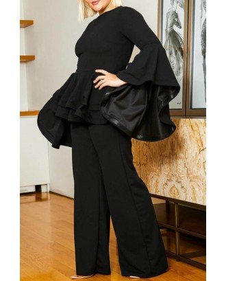 Lovely Casual Flounce Design Black Plus Size Two-piece Pants Set
