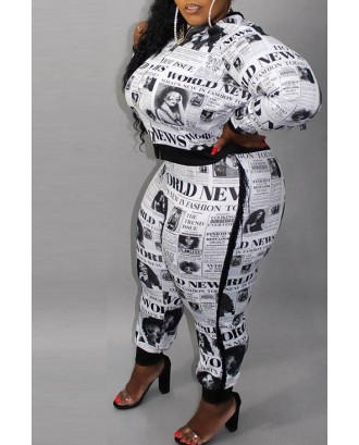 Lovely Casual Letter Printed Black Plus Size Two-piece Pants Set
