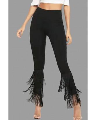 Lovely Casual Tassel Design Pitch-black Plus Size Pants