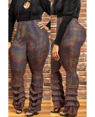 Lovely Casual Ruffle Design Multicolor Plus Size Pants