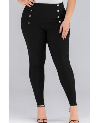 Lovely Chic Buttons Design Black Plus Size Pants