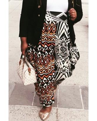 Lovely Trendy Printed Black Plus Size Pants