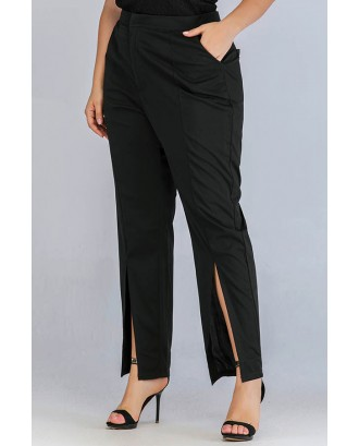 Lovely Casual Basic Black Plus Size Pants