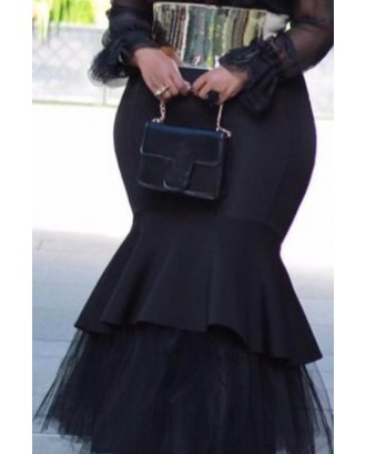 Lovely Casual Flounce Black Plus Size Skirt