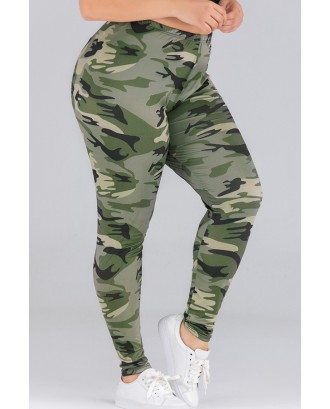 Lovely Casual Print Army Green Plus Size Pants