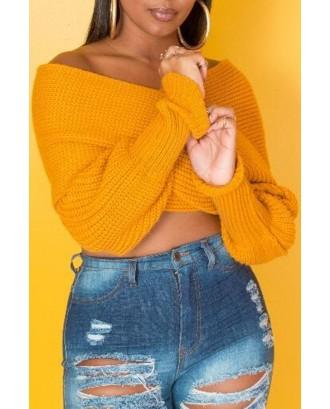 Lovely Casual V Neck Cross-over Design Yellow Sweater
