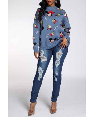 Lovely Leisure Patchwork Blue Sweater