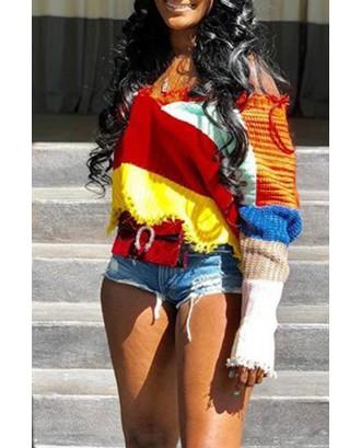 Lovely Casual Tassel Design Color-lump Multicolor Sweaters