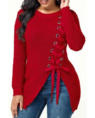 Lovely Trendy Bandage Design Red Sweater
