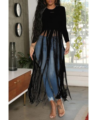 Lovely Casual O Neck Letter Printed Tassel Design Black Blouse