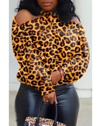 Lovely Casual Dew Shoulder Leopard Blouse