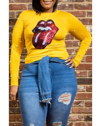 Lovely Casual Lip Print Yellow  Plus Size T-shirt
