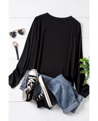 Lovely Stylish O Neck Print Black Plus Size T-shirt