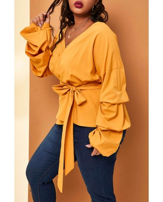 Lovely Casual Lace-up Yellow Plus Size Blouse