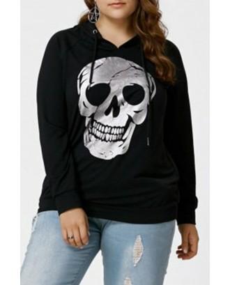 Lovely Casual Skull Print Black Plus Size Hoodie