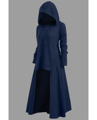 Lovely Casual Asymmetrical Dark Blue Plus Size Hoodie