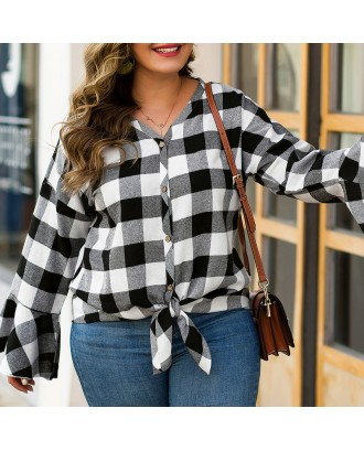 Lovely Casual Plaid Printed Black Plus Size Blouse