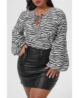 Lovely Casual Zebra Stripe Plus Size Blouse