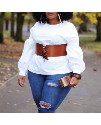 Lovely Casual O Neck White Blouse(Without Belt)